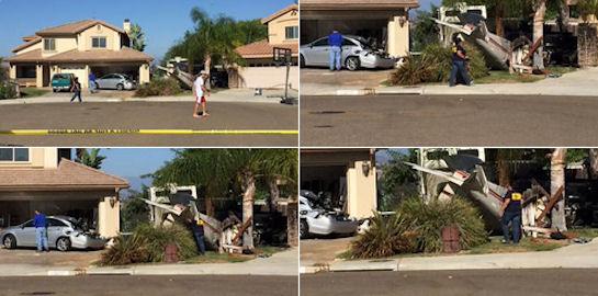 Учебный самолет задел крышу и упал во дворе жилого дома в Калифорнии