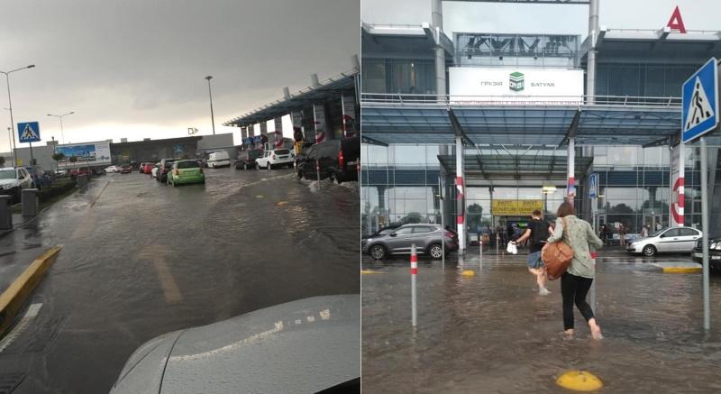 Площадь перед терминалами аэропорта Киев напоминает озеро (фото)