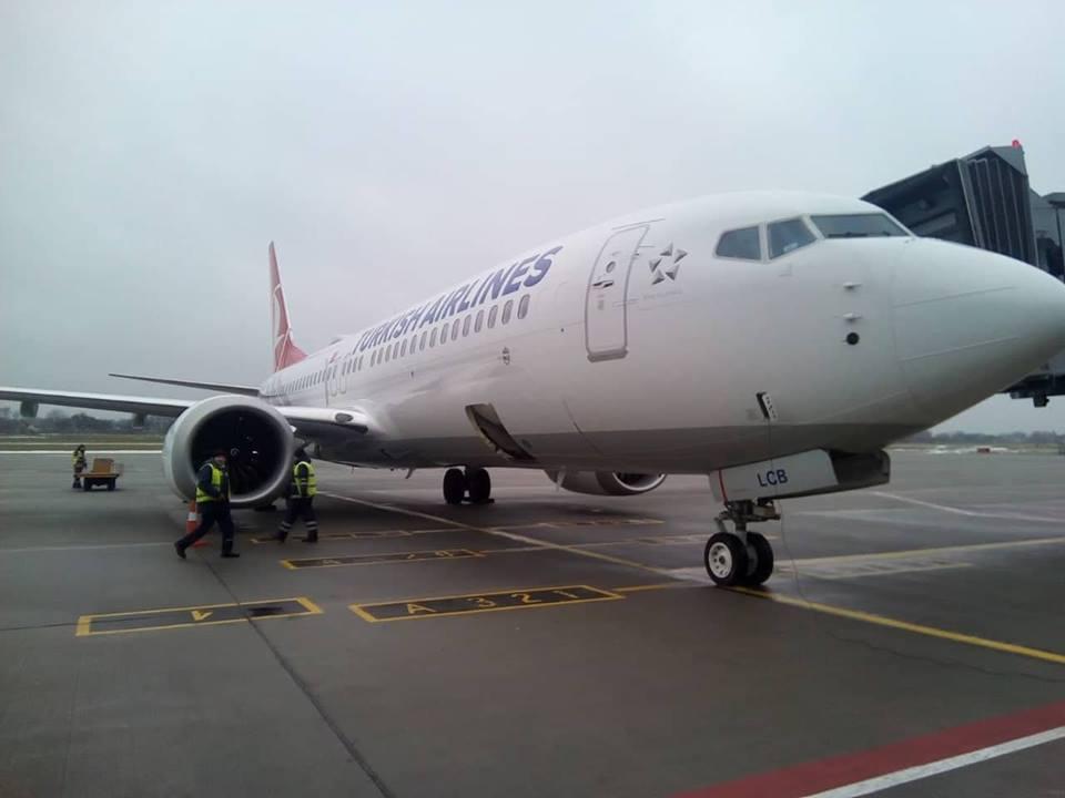 Turkish Airlines впервые выполнила рейс в аэропорт Львов на Boeing 737 MAX 8