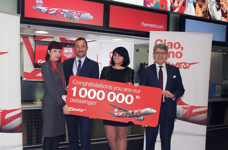 Путешественница из Киева стала миллионным пассажиром Ernest Airlines