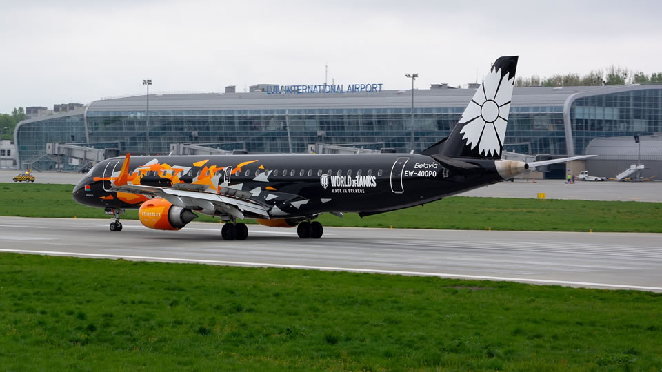 Второй самолет Belavia в ливрее WORLD OF TANKS прилетел во Львов
