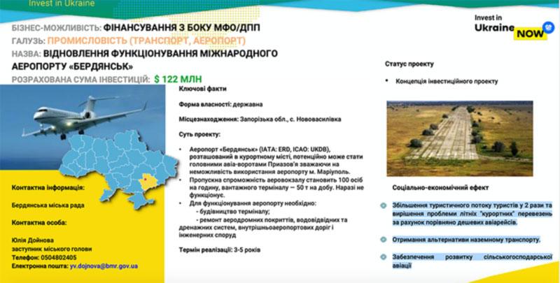 Бердянск за 122 млн. дол. готов заменить аэропорт Мариуполя