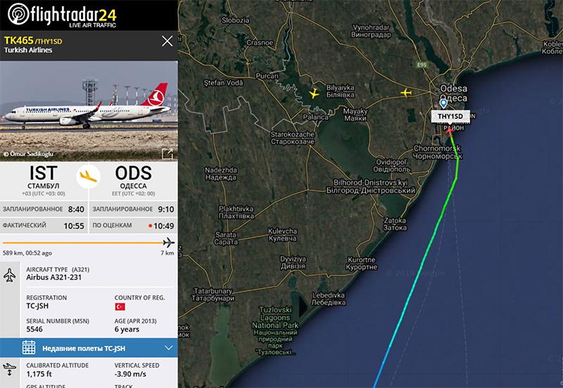 Turkish Airlines сегодня возобновила полеты в Одессу