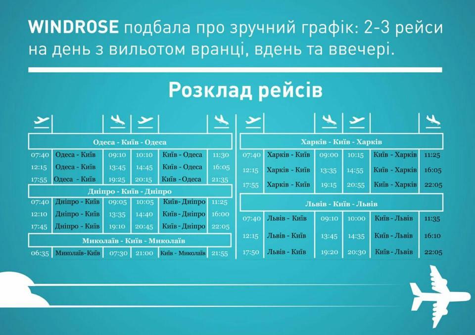 Авиакомпания Windrose представила график внутренних полетов
