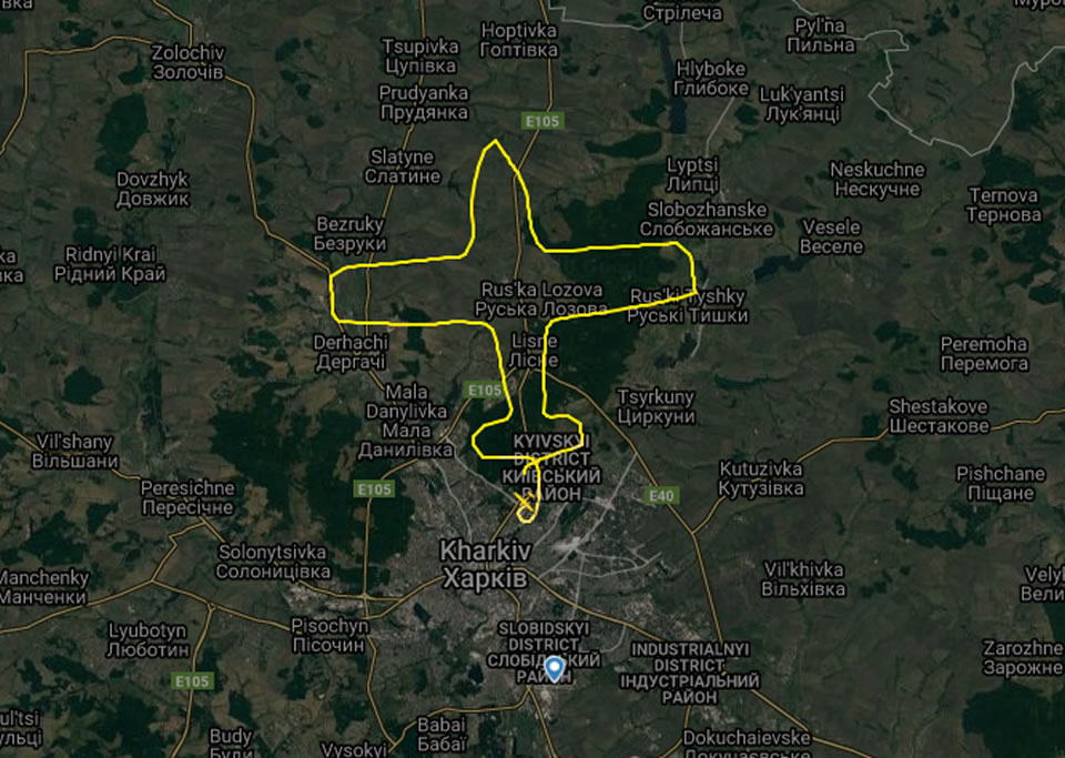 Харьковские пилоты нарисовали самолет в небе
