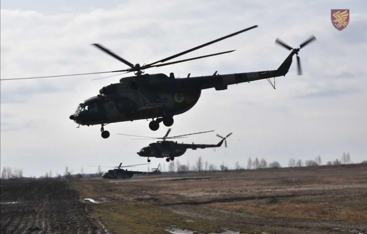 95 бригада тренируется вместе с армейской авиацией
